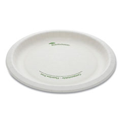 "Pactiv EarthChoice Pressware Compostable Dinnerware, Plate, 9"" Diameter, White, 450/Carton"