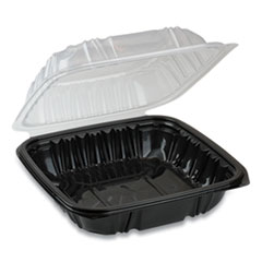 Pactiv EarthChoice Dual Color Hinged-Lid Takeout Container, 1-Compartment, 28 oz, 7.5 x 7.5 x 3, Black/Clear, 150/Carton