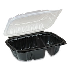 Pactiv EarthChoice Dual Color Hinged-Lid Takeout Container,  2-Compartment, 20 oz, 9 x 6 x 3, Black/Clear, 140/Carton