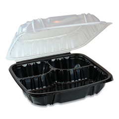 Pactiv EarthChoice Dual Color Hinged-Lid Takeout Container, 3-Compartment, 34 oz, 10.5 x 9.5 x 3, Black/Clear, 132/Carton