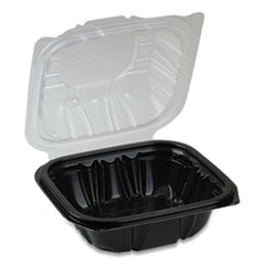 Pactiv EarthChoice Dual Color Hinged-Lid Takeout Container, 1-Compartment, 16 oz, 6 x 6 x 3, Black/Clear, 321/Carton