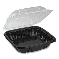 Pactiv EarthChoice Dual Color Hinged-Lid Takeout Container, 1-Compartment, 38 oz, 8.5 x 8.5 x 3, Black/Clear, 150/Carton