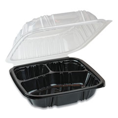Pactiv EarthChoice Dual Color Hinged-Lid Takeout Container, 3-Compartment, 21 oz, 8.5 x 8.5 x 3, Black/Clear, 150/Carton