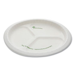 "Pactiv EarthChoice Pressware Compostable Dinnerware, 3-Compartment Plate, 10"" Diameter, White, 250/Carton"
