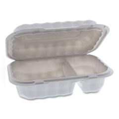 Pactiv EarthChoice SmartLock Microwavable Hinged Lid Containers, 2-Compartment, 9 x 6 x 3, White, 270/Carton
