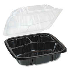 Pactiv EarthChoice Dual Color Hinged-Lid Takeout Container, 33 oz, 8.5 x 8.5 x 3, 3-Compartment, Black/Clear, 150/Carton