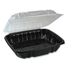 Pactiv EarthChoice Dual Color Hinged-Lid Takeout Container, 66 oz, 10.5 x 9.5 x 3, 1-Compartment, Black/Clear, 132/Carton