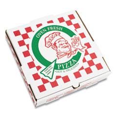 """PIZZA Box Corrugated Kraft Pizza Boxes, E-Flute, White/Red/Green, 12"""" Pizza, 12 x 12 x 1.75, 50/Carton"""
