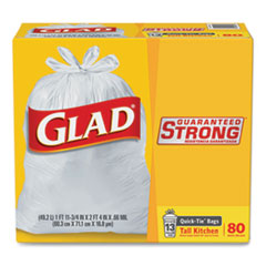 "Glad® Tall Kitchen Quick-Tie Bags, 13 gal, 0.66 mil, 23.75"" x 28"", White, 80/Box"