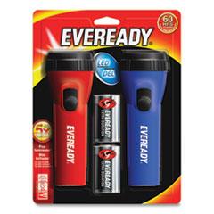 Eveready® LED Economy Flashlight, Red/Blue, 2/Pack