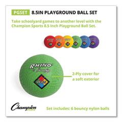 Champion Sports Playground Ball Set, Nylon, Assorted Colors, 6/Set