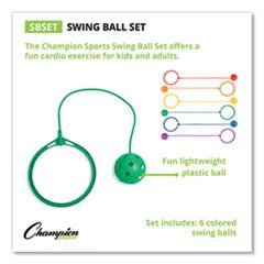 Champion Sports Swing Ball Set, Plastic, Assorted Colors, 6/Set