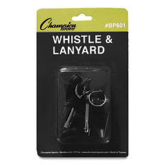 Champion Sports Sports Whistle with Black Nylon Lanyard, Plastic, Black