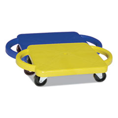 Champion Sports Scooter with Handles, Blue/Yellow, 4 Rubber Swivel Casters, Plastic, 12 x 12