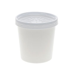 """Pactiv Paper Round Food Container and Lid Combo, 16 oz, 3.75"""" Diameter x 3.88h"""", White, 250/Carton"""