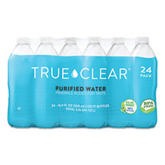True Clear® Purified Bottled Water, 16.9 oz Bottle, 24 Bottles/Carton, 84 Cartons/Pallet
