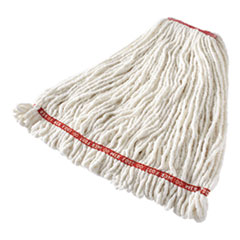 """Rubbermaid® Commercial Web Foot Shrinkless Looped-End Wet Mop Head, Cotton/Synthetic, Large, White, 1"""" White Headband"""