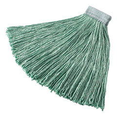"""Rubbermaid® Commercial Non-Launderable Cotton/Synthetic Cut-End Wet Mop Heads, 24 oz, Green, 5"""" White Headband"""