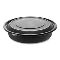 "Pactiv EarthChoice MealMaster Bowls with Lids, 48 oz, 10.13"" Diameter x 2.13""h, 1-Compartment, Black/Clear, 150/Carton"