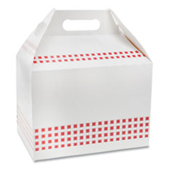 Pactiv Barns and Boxes, Barn Box with Handle, 9 x 5 x 4.5, Basketweave, 150/Carton