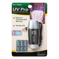 Dri-Mark® UV Pro Ultraviolet Counterfeit Detecto, UV Light; Watermark, U.S.; Most Foreign Currencies, 7.28 x 3.74 x 4.21, Black/Silver