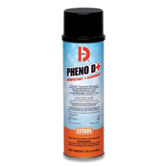 Big D Industries PHENO D+ Aerosol Disinfectant/Deodorizer, Citrus Scent, 16.5 oz Aerosol Spray Can, 12/Carton
