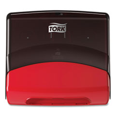Tork® Performance Folded Wiper/Cloth Dispenser, 16.81 x 8.11 x 15.51, Red/Smoke