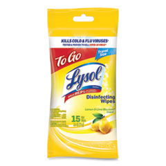 LYSOL® Brand Disinfecting Wipes Flatpacks, 6.29 x 7.87, Lemon and Lime Blossom, 15 Wipes/Flat Pack, 48 Flat Packs/Carton