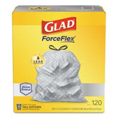 "Glad® OdorShield Tall Kitchen Drawstring Bags, 13 gal, 18.3 mic, 25.4"" x 23.75"", White, 120/Box"