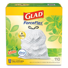 "Glad® OdorShield with Gain and Febreze, 13 gal, 0.72 mil, 25.75"" x 11.75"", White, 110/Box"