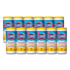 Clorox® Disinfecting Wipes, 7 x 8, Crisp Lemon, 35/Canister, 12/Carton