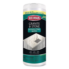 WEIMAN® Granite and Stone Disinfectant Wipes, Spring Garden Scent, 7 x 8, 30/Canister, 6 Canisters/Carton