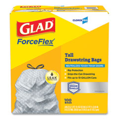 "Glad® ForceFlex Tall Kitchen Drawstring Trash Bags, 13 gal, 0.72 mil, 23.75"" x 24.88"", Gray, 100/Box"