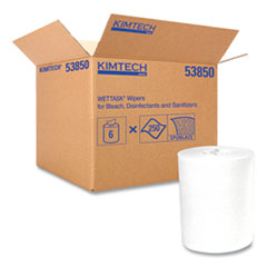 Kimtech™ Wipers for the WETTASK System, Quat Disinfectants and Sanitizers, 5.8 x 9, 250/Roll, 6 Rolls/Carton