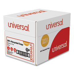 Universal® 30% Recycled Copy Paper, 92 Bright, 20 lb, 8.5 x 11, White, 500 Sheets/Ream, 5 Reams/Carton