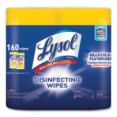 LYSOL® Brand Disinfecting Wipes, 7 x 7.25, Lemon and Lime Blossom, 80 Wipes/Canister, 2 Canisters/Pack, 3 Packs/Carton