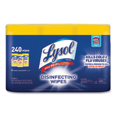 LYSOL® Brand Disinfecting Wipes, 7 x 7.25, Lemon and Lime Blossom, 80 Wipes/Canister, 3 Canisters/Pack, 2 Packs/Carton