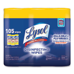 LYSOL® Brand Disinfecting Wipes, 7 x 7.25, Lemon and Lime Blossom, 35 Wipes/Canister, 3 Canisters/Pack