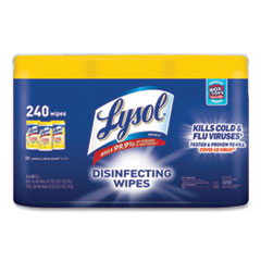 LYSOL® Brand Disinfecting Wipes, 7 x 7.25, Lemon and Lime Blossom, 80 Wipes/Canister, 3 Canisters/Pack