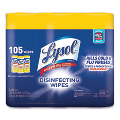 LYSOL® Brand Disinfecting Wipes, 7 x 7.25, Lemon and Lime Blossom, 35 Wipes/Canister, 3 Canisters/Pack, 4 Packs/Carton