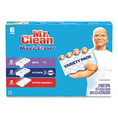 "Mr. Clean® Magic Eraser Variety Pack, Extra Durable; Bath; Kitchen, White, 4.6 x 2.3, 0.7"" Thick, White 6/Pack"