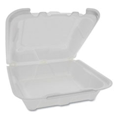 Pactiv Foam Hinged Lid Containers, 8.15 x 8.42 x 3, White, 150/Carton