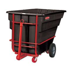 Rubbermaid® Commercial Rotomolded Towable Tilt Truck, Rectangular, Plastic, 1.5 cu yd, 2,100-lb Capacity, Black/Red