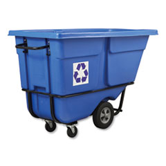 Rubbermaid® Commercial Rotomolded Recycling Tilt Truck, Rectangular, Plastic with Steel Frame, 1 cu yd, 1,250 lb Capacity, Blue