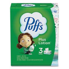 Puffs® Plus Lotion Facial Tissue, White, 2-Ply, 124/Box, 3 Box/Pack, 8 Packs/Carton