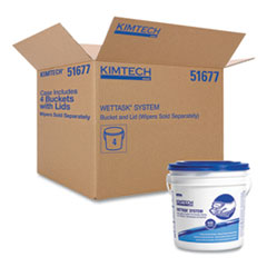 Kimtech™ WetTask Wiper Bucket, White/Blue, 4/Carton