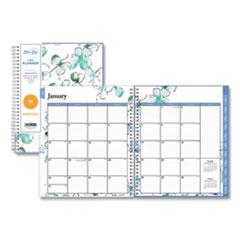 Blue Sky® Lindley Monthly Wirebound Planner, 10 x 8, White/Blue, 2022