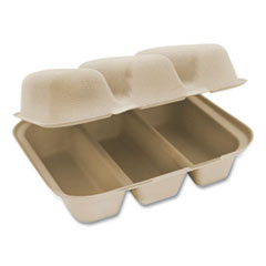 World Centric® Fiber Hinged Containers, Taco Box, 3-Compartment, 7 x 8.3 x 3.2, Natural, 300/Carton