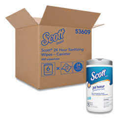 Scott® 24-Hour Sanitizing Wipes, 4.5 x 8.25, White, 75/Canister, 6 Canisters/Carton
