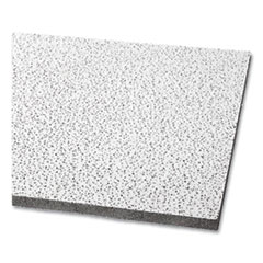 """Fine Fissured Ceiling Tiles, Non-Directional, Square Lay-In (0.94""""), 24"""" x 24"""" x 0.63"""", White, 16/Carton"""
